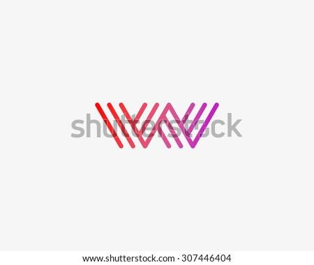Abstract Letter W M logo design template. Line vector symbol. Premium elegant sign mark icon - stock vector