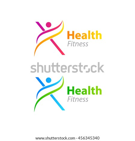 Abstract letter X logo design template with Health Fitness Logo