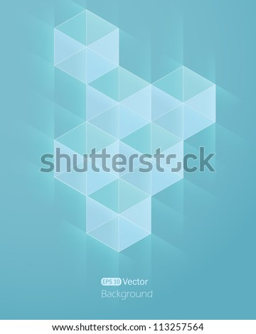 Abstract light blue background with cube. Vector illustration - stock vector