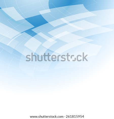 abstract light blue background with flying transparent shapes - stock vector