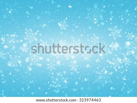 Abstract Light Blue Background with Snowflakes, Vector Illustration