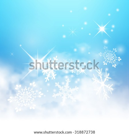 Abstract Light Blue, Turquoise - Winter Background - with Snowflakes and Starlets. Cold and Foggy Backdrop with Soft Highlights and Snow Flakes. - stock vector