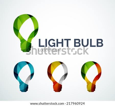 Abstract Light Bulb Logo Design Made Of Color Pieces
