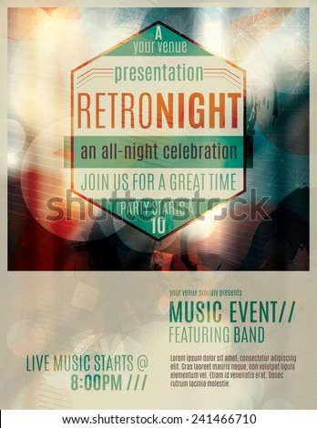 Abstract light effect flyer template layout with retro style badge advertising a live music event - stock vector