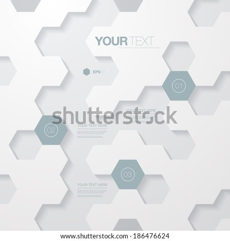 Abstract light futuristic hexagon shape infographic design template for your business presentation with text and numbers  Eps 10 stock vector illustration  - stock vector