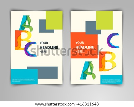 Abstract light geometric design with ABC letters. Vector colorful template layout for magazine brochure flayer booklet cover annual report in A4 size. - stock vector