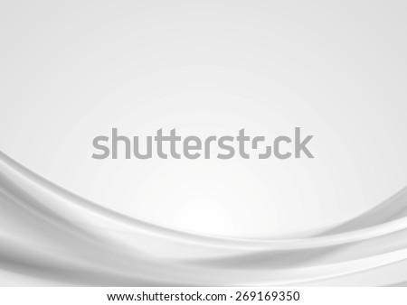 Abstract light grey wavy background. Vector illustration - stock vector