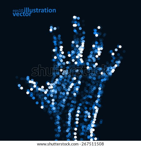 Abstract light hand, futuristic vector illustration eps10 - stock vector