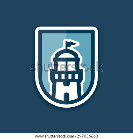 Abstract lighthouse icon logo graphic in badge shape