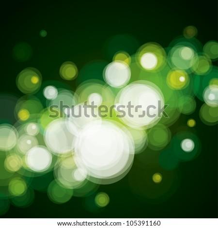 Abstract lighting background, bokeh green. - stock vector