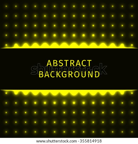 Abstract lights yellow forms on dark background - stock vector