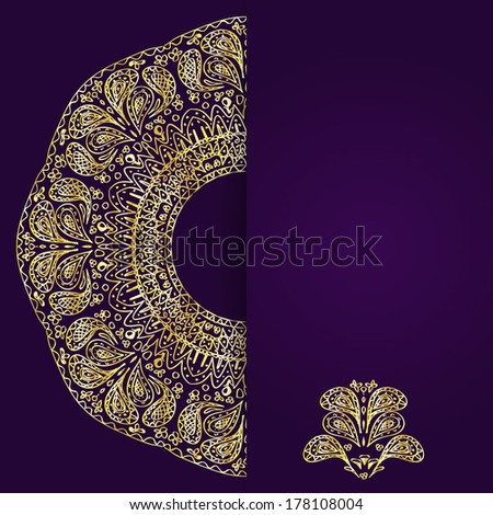 Abstract lilac background with gold lacy mandala pattern. Vector illustration. - stock vector