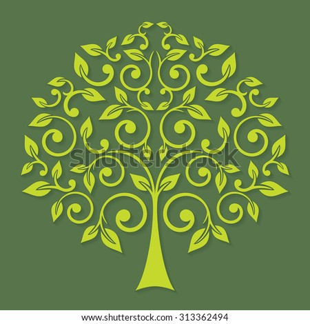 Abstract lime tree on a dark green background. Vector ecology icon.