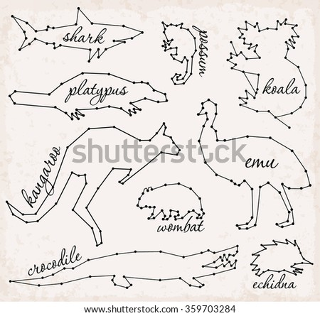 Abstract Line and Dot Australian Animals Set Vector Illustrations - stock vector