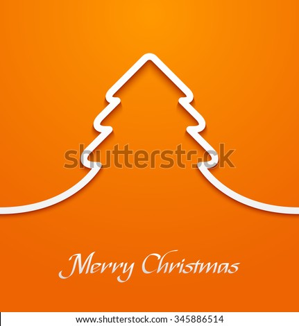 Abstract line paper christmas tree applique on orange background. Vector illustration - stock vector