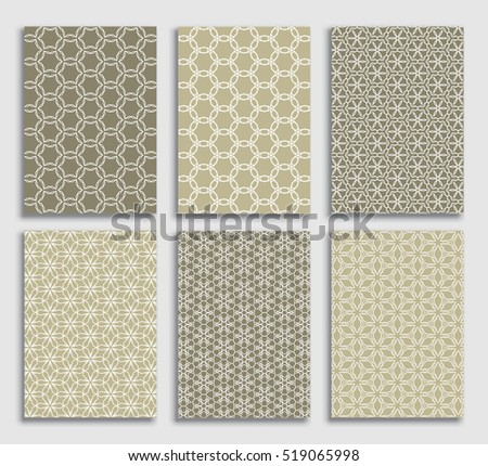 Abstract line patterns backgrounds set. Collection for Banners, Flyers, Placards and Posters. Retro backgrounds. Vector geometric lace patterns. A4 size