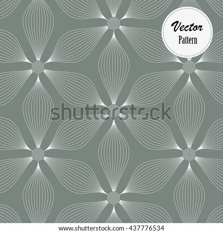 Abstract linear petal flower decorates linear circle at center of each flower. Vector pattern - stock vector
