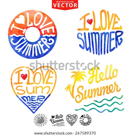 Abstract logo,background,card.Watercolor stains,splash and typography title I love summer,sun burst,heart,lifebuoy.Painting artistic design. Vector illustration, hand drawing art,template - stock vector