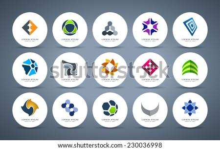 Abstract logo collection. Vector logotype design. - stock vector