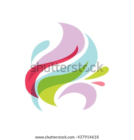 Abstract logo design template. Corporate identity icon. Blue wave vector illustration. - stock vector