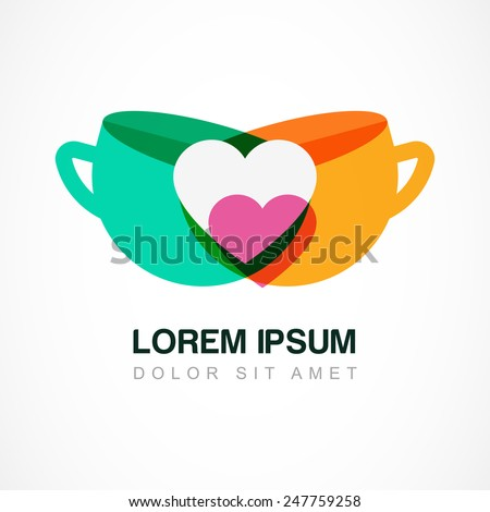 Abstract logo design template. Green tea and coffee cup symbol. Vector colorful flat icon. Concept for bar menu, tea or coffee shop, cafe. - stock vector