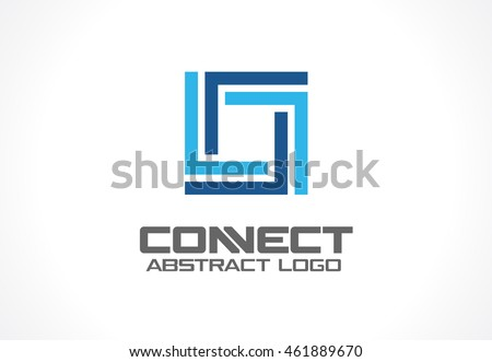Abstract logo for business company. Corporate identity design element. Industry, finance, bank logotype idea. Square group, network integrate, technology interaction concept. Color Vector connect icon