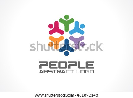 Abstract logo for business company. Corporate identity design element. Social Media Logotype idea. People group connect, segments compound in circle form, geometric concept. Colorful Vector icon