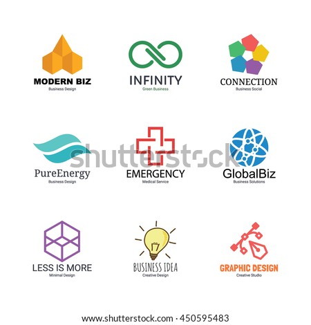abstract logo icons design, vector minimal for business identity, isolated on white background