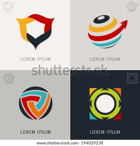 "Abstract logo Icons Set and Vector Illustration, Business, Globe, Web, Info Symbols. ""Lorem Ipsum"". Graphic Design Editable For Your Design.  - stock vector"