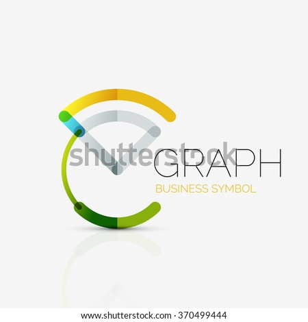 Abstract logo idea, linear chart or graph  business icon. Creative vector logotype design template - stock vector