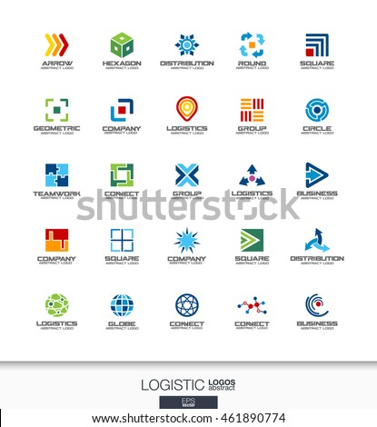 Abstract logo set for business company. Corporate identity design elements. Export, transport, delivery and distribution concepts. Logistic, shipping logotype collection. Colorful Vector icons