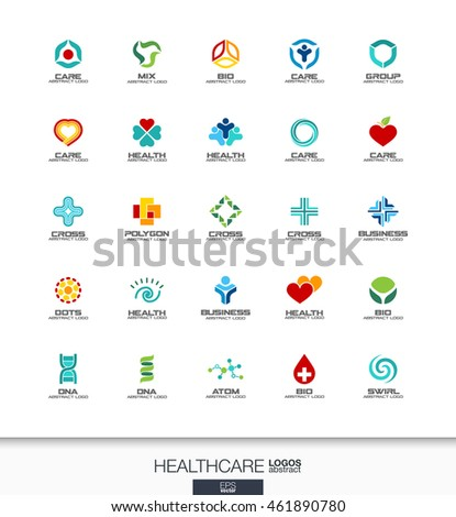Abstract logo set for business company. Corporate identity design elements. Healthcare, medicine and pharmacy cross concepts. Health, care, medical, logotype collection. Colorful Vector icons