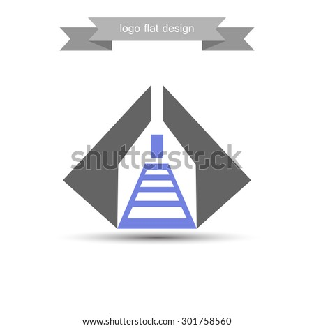 abstract logo staircase flat design creative vector