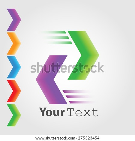 Abstract Logo template. Colored arrows - stock vector