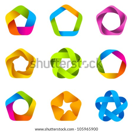 Abstract logo template set. Business Star Icons. Infinite loop shapes. Ribbon style. Vector. Social - stock vector