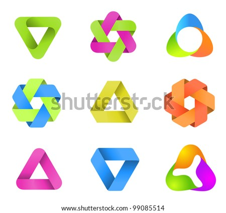Abstract Logo template set. Icons for any type of business. Vector. - stock vector