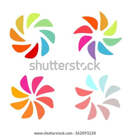 Abstract logo. Vector logo. Spiral logo. Tornado logo. Logo set. Set logos. Designed collection of photo signs. Colorful logo. Graphic logo. Logo flowers. Summer. Sun logo. Sliced fruit. Warm colors. - stock vector