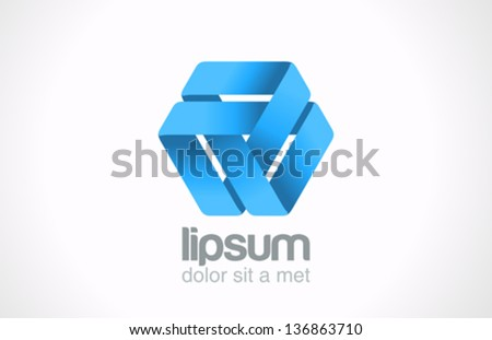 Abstract looped ribbon logo template. Triangle loop shape.  Triple cycle infinite. Infinity sign. Vector. Editable. - stock vector