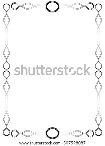 Abstract Loops Border Frame Design - Black and white abstract vector loops and wavy lines border or frame design elements on a white background.