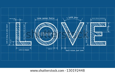 Abstract love blueprint with love quotes - stock vector