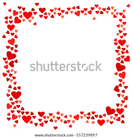 abstract love for your valentines day greeting card design red hearts frame isolated on white - Heart Frame