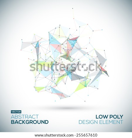 Abstract low poly geometric colorful bright technology vector background. Connection structure. Vector data science background. Polygonal vector background. Molecule And Communication Background. - stock vector