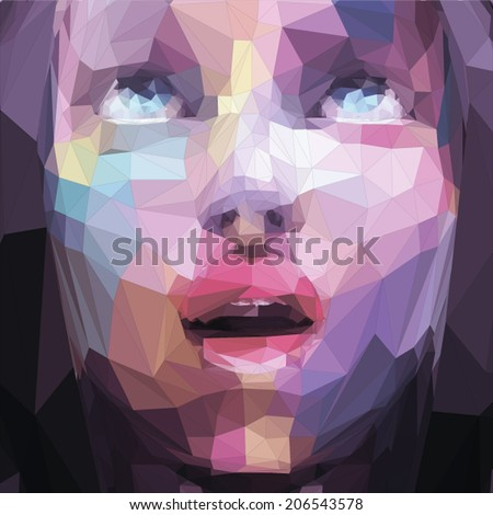 Abstract low poly, pop art  portrait girl looking up - stock vector