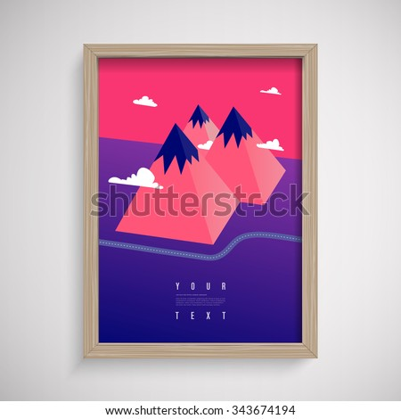 Abstract low-polygon 3D mountains landscape in surreal colors with road and clouds in wooden frame on wall  Eps 10 stock vector illustration  - stock vector