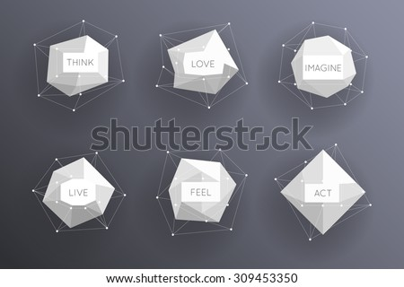 Abstract low polygonal modern labels. Template creative element. Vector illustration - stock vector