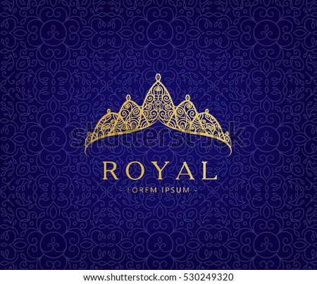 Abstract luxury, royal golden company logo icon vector design. Elegant crown, tiara, diadem premium symbol. Hand drawn lace jewelry, arabic, restaurant, hotel logotype.