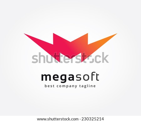 Abstract M character vector logo icon concept. Logotype template for branding and design - stock vector