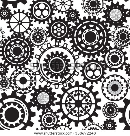 Abstract Machine pattern. Seamless mechanism texture. Vector illustration with cogwheels and mechanical parts. Black gears, steampunk seamless pattern
