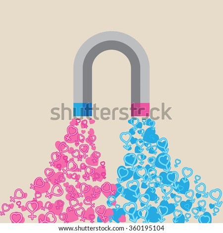 Abstract magnet attracting love hearts. Concept for love at first sight, mutual love, wedding and valentines : Eps 10 vector illustration. - stock vector