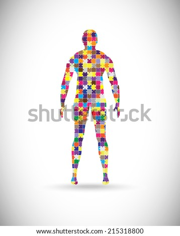 Abstract male body built of puzzle pieces - stock vector